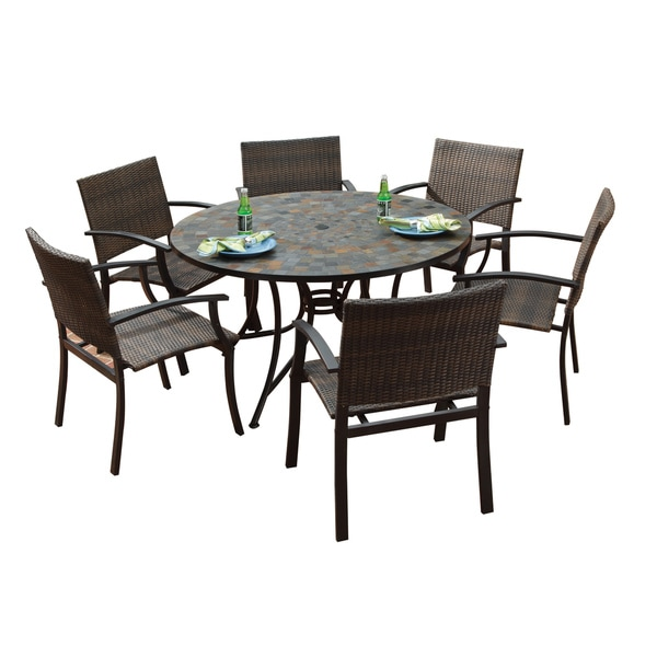 Stone Harbor Large Round Dining Table And Newport Arm Chairs 7 Piece  Outdoor Dining Set