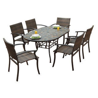 Home Styles Stone Harbor Oval Dining Table and Newport Arm Chairs 7-piece Outdoor Dining Set