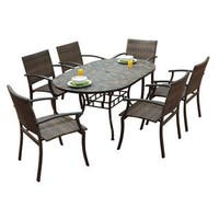 Stone Harbor Oval Dining Table and Newport Arm Chairs 7-piece Outdoor Dining Set by Home Styles