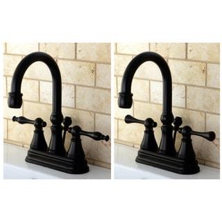 High Spout Oil Rubbed Bronze Bathroom Faucet (Naples Lever)