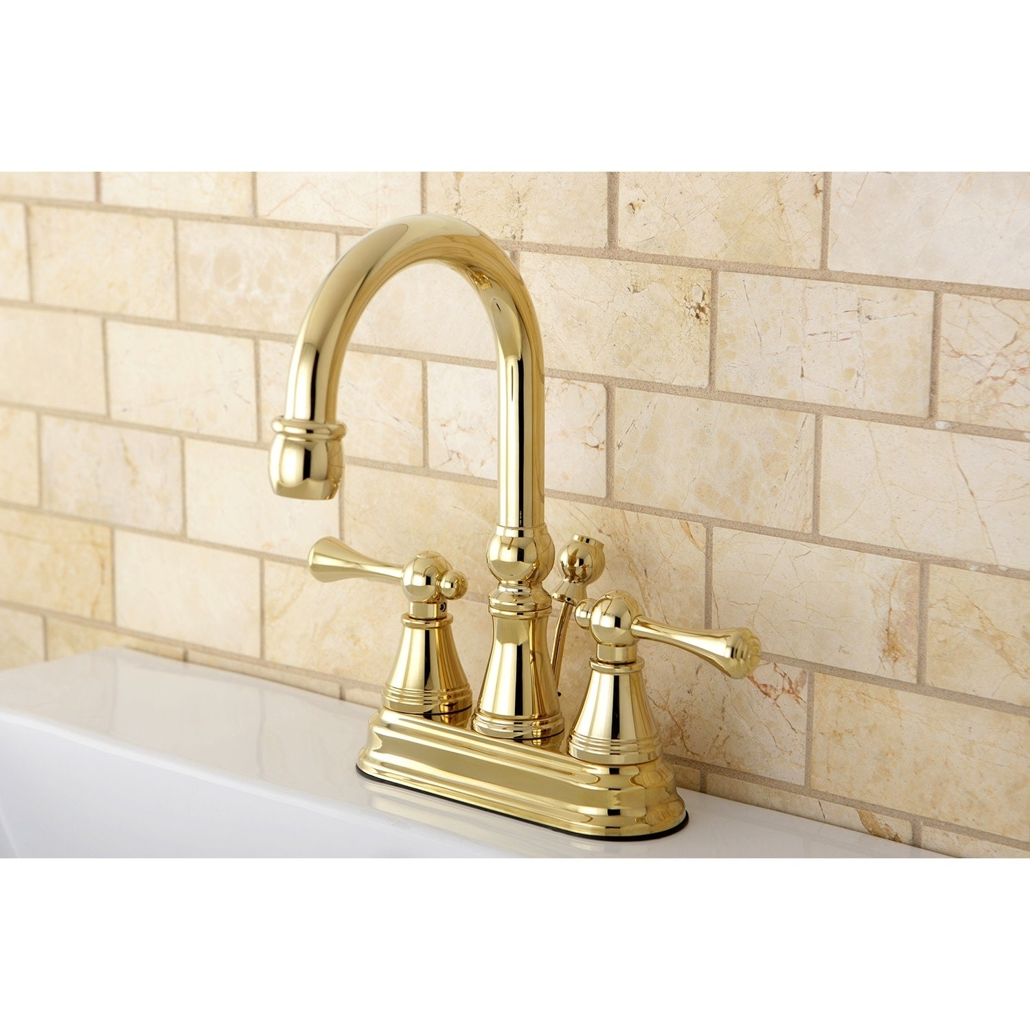 Image of: Shop Black Friday Deals On High Spout Polished Brass Bathroom Faucet Overstock 6695071