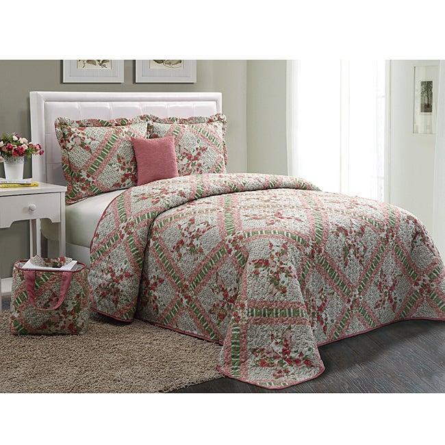 VCNY Floral Pink 5-piece Quilt Set