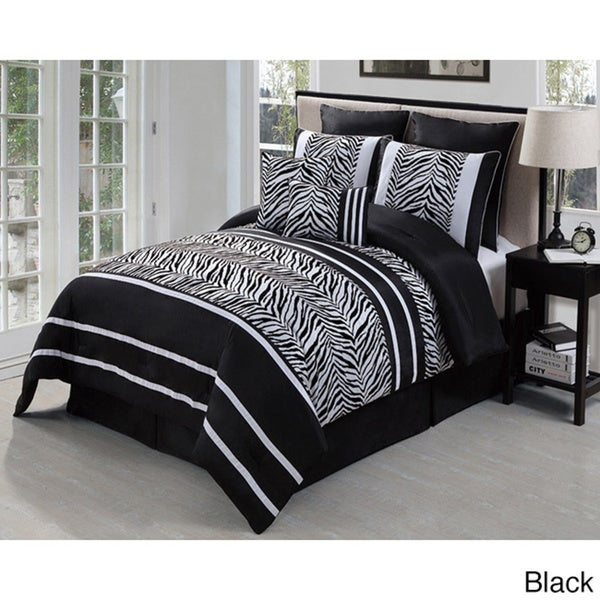 VCNY Laken Zebra 8-piece Flock Comforter Set