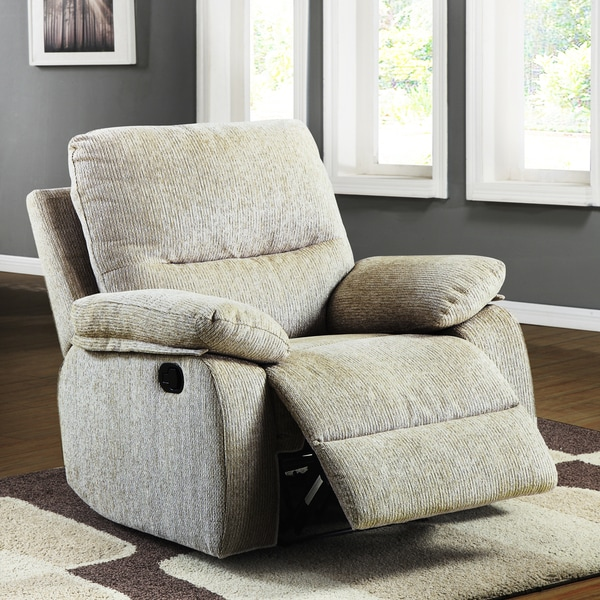 TRIBECCA HOME Corbridge Light Beige Chenille Recliner