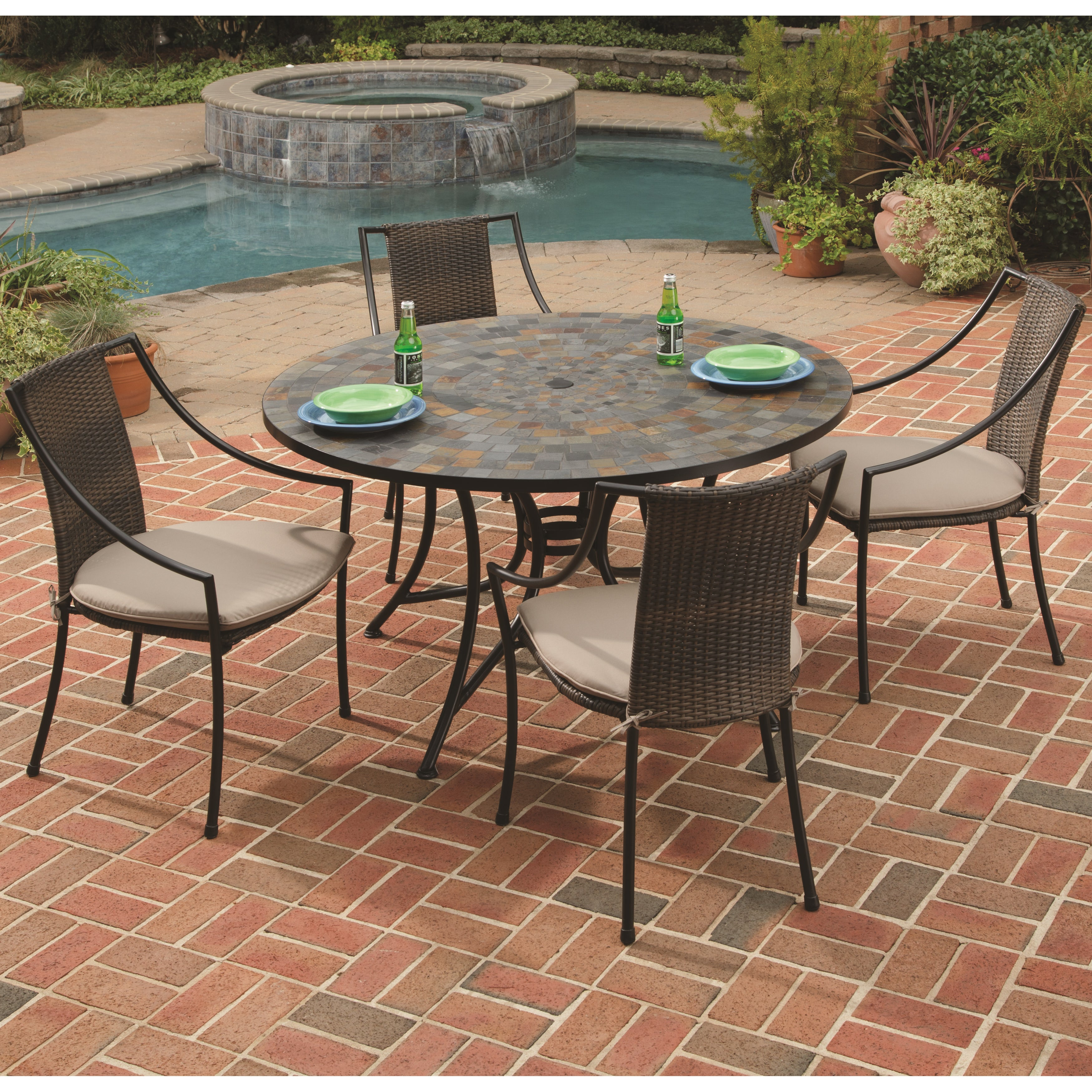 Stone Harbor Slate/ Black 5-piece Outdoor Dining Set by H...