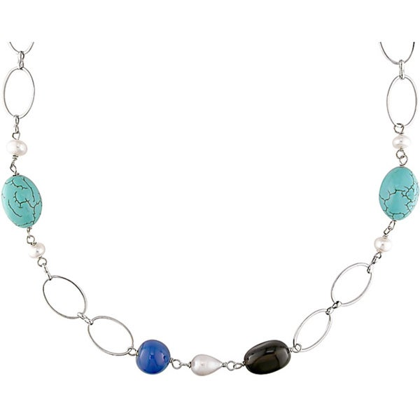 Miadora Silvertone Turquoise Smokey Quartz and Freshwater Pearl Necklace (9 mm)