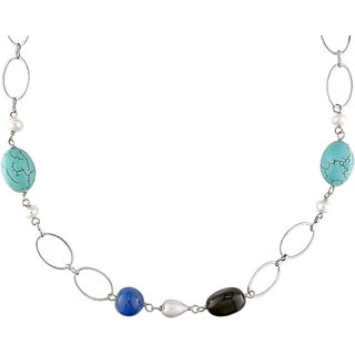 M by Miadora Silvertone Turquoise, Smokey Quartz and Freshwater Pearl Necklace (9 mm)