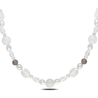 M by Miadora Sterling Silver 460ct TGW Agate, Quartz and FW Pearl Necklace (8-9 mm)