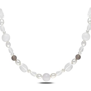 Miadora Sterling Silver 460ct TGW Agate Quartz and FW Pearl Necklace (8-9 mm)