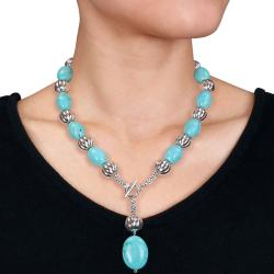 Miadora Silvertone Created Turquoise 18-inch Toggle Necklace