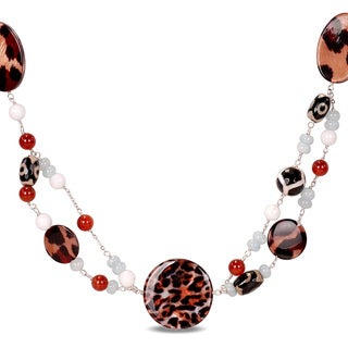 M by Miadora Multi-colored Agate and Carnelian Bead 30-inch Necklace
