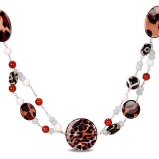 Miadora Multi-colored Agate and Carnelian Bead 30-inch Necklace|https://ak1.ostkcdn.com/images/products/6695707/P14249097.jpg?impolicy=medium