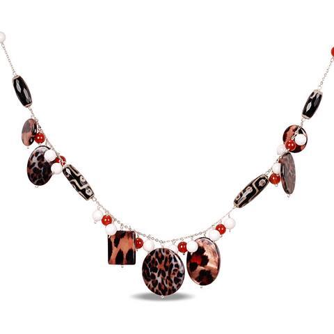 Miadora Silvertone Zebra White Agate and Carnelian 32-inch Necklace