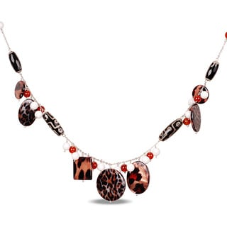 Miadora Silvertone Zebra White Agate and Carnelian 32-inch Necklace