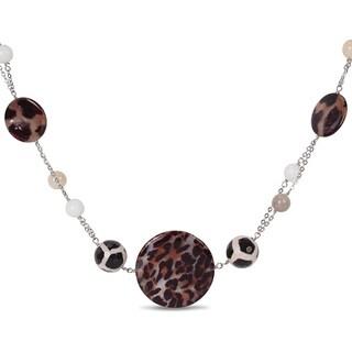 Miadora Silvertone Leopard Print Agate Bead 24-inch Necklace