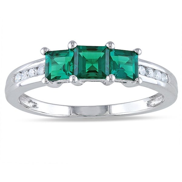 Miadora 10k White Gold Created Emerald and 1/10ct TDW Diamond Ring (H-I, I2-I3)
