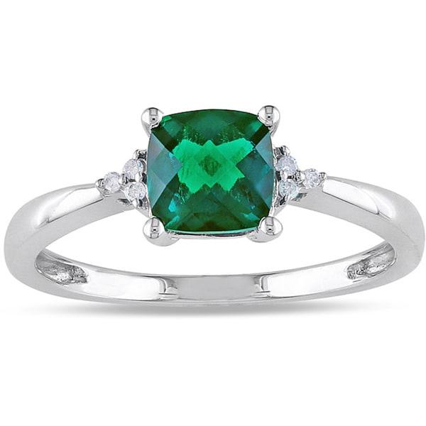 Miadora 10k White Gold 1ct TGW Created Emerald and Diamond Accent Ring
