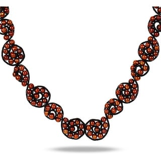 Miadora Black Leather Cord Brown Freshwater Pearl Necklace 6 6 5 Mm