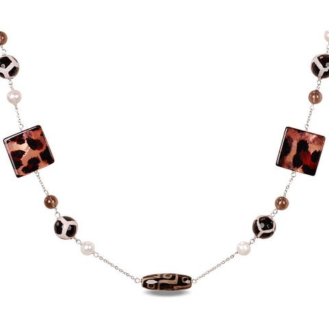 Miadora Silvertone Agate Bead and Freshwater Pearl Necklace (8-9 mm)