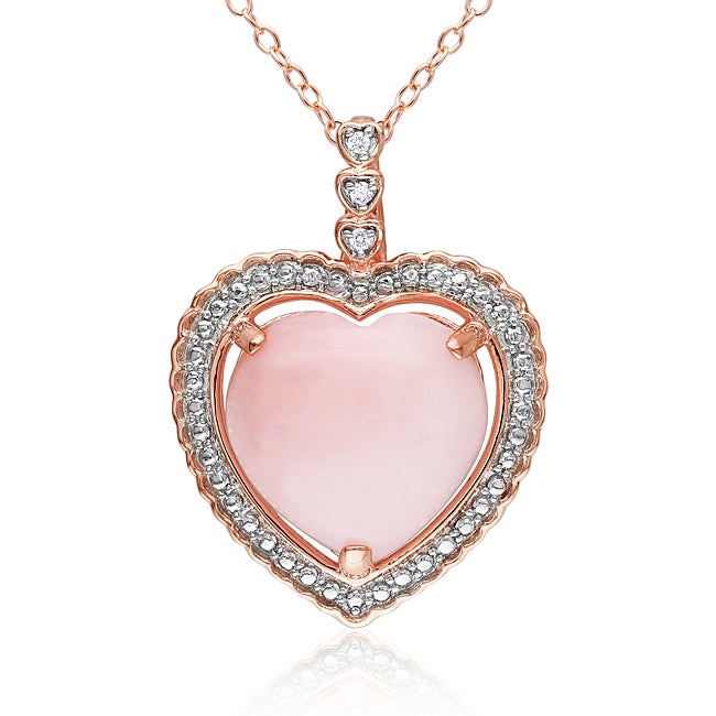 Miadora Pink-plated Silver Pink Opal and Diamond Accent Heart Necklace