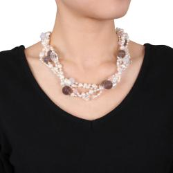 Miadora Quartz, Agate and Freshwater Pearl Multi-strand Necklace (4-8.5 mm) - Thumbnail 2