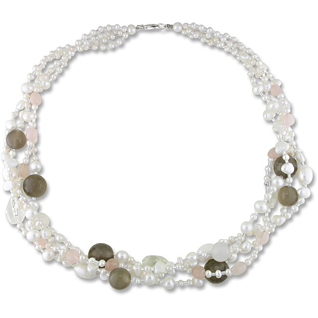 Miadora Quartz, Agate and Freshwater Pearl Multi-strand Necklace (4-8.5 mm)