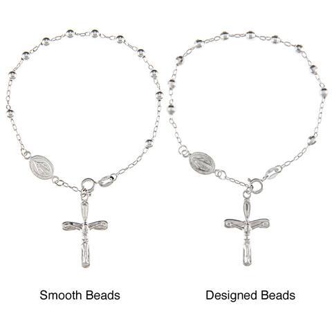 La Preciosa Silver Smooth or Designed Bead 7.5-inch Rosary Bracelet
