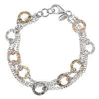 La Preciosa Tri-color Silver Diamond-cut Circle 3-strand Bracelet