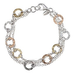 La Preciosa Tri-color Silver Diamond-cut Circle 3-strand Bracelet