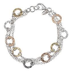 La Preciosa Tri Color Silver Diamond Cut Circle 3 Strand Bracelet