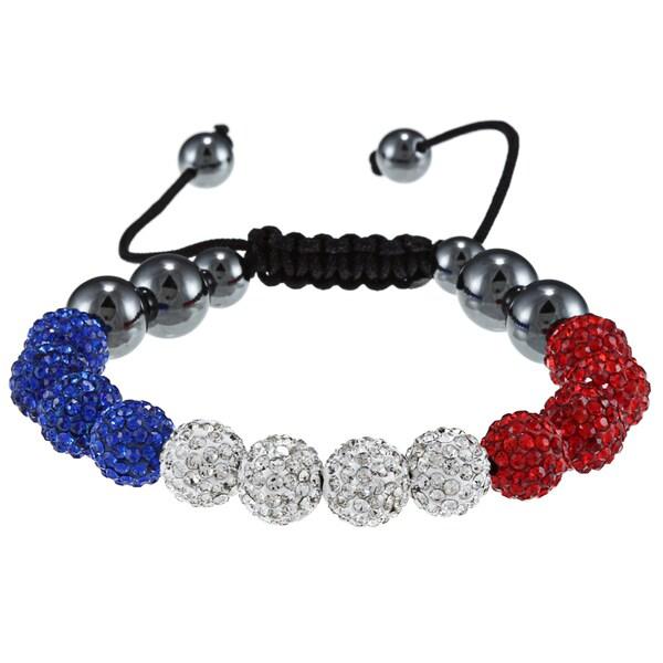 La Preciosa 10-mm Red, White and Blue Crystal Bead Macrame Bracelet