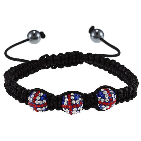 La Preciosa 10-mm Triple UK Flag Crystal Bead Macrame Bracelet
