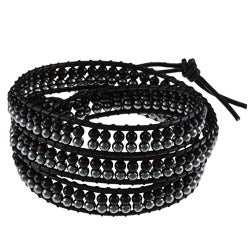 La Preciosa Silver 3-mm Black and Grey Crystal Leather Wrap Bracelet