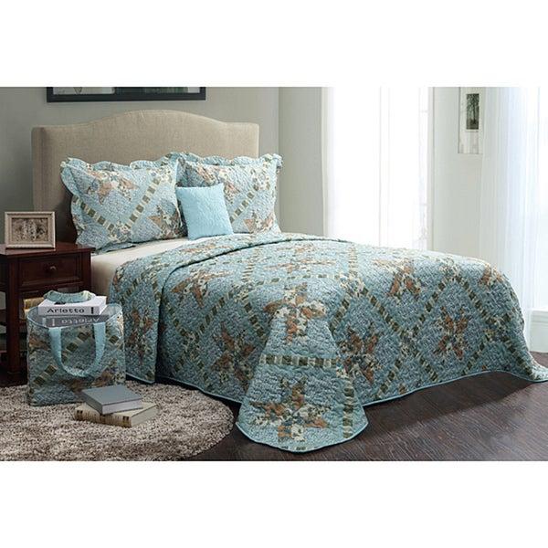VCNY Floral Blue 5-piece Quilt Set