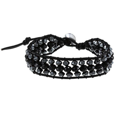 La Preciosa Silver and Black Leather Crystal Bead 3-row Wrap Bracelet