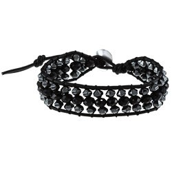 La Preciosa Silver and Black Leather Crystal Bead 3-row Wrap Bracelet