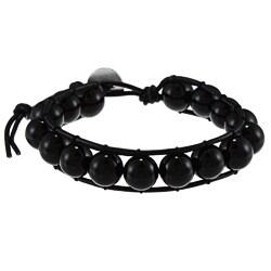 La Preciosa Sterling Silver 10-mm Black Crystal Bead Wrap Bracelet