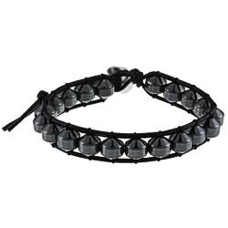 La Preciosa Silver and Black Leather 8-mm Crystal Bead Wrap Bracelet