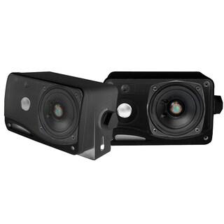 Pyle PLMR24B 3-way Mini Box Speaker System - 3.5 Inch 200 Watt Weatherproof Marine Grade Mount Speakers