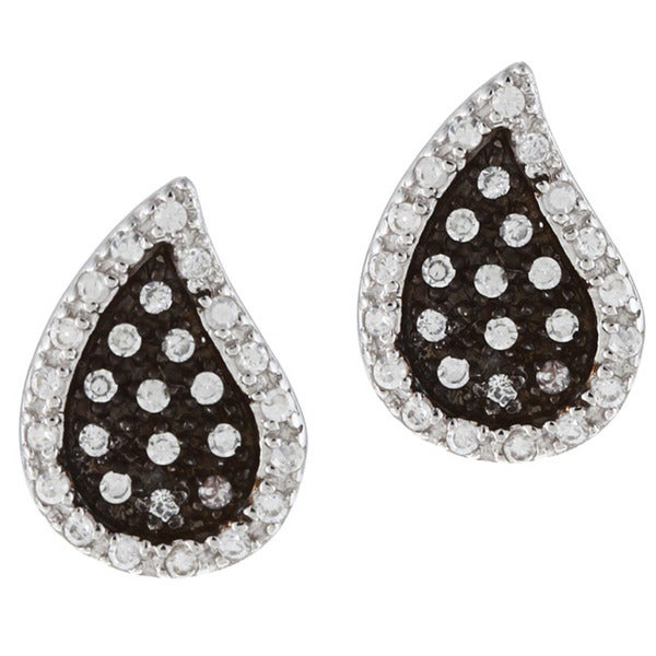 La Preciosa Black-plated Silver Clear Cubic Zirconia Teardrop Earrings