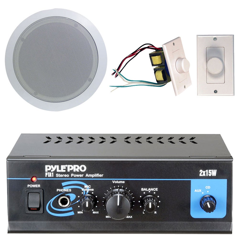 Pyle Mini 2x15W Amp 5.25-inch Speakers and Volume Control