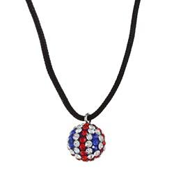 La Preciosa Sterling Silver UK Flag Crystal Bead Black Cord Necklace