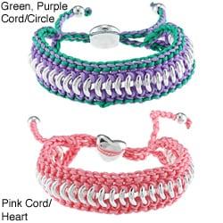 La Preciosa Silvertone Circle Link and Cord Friendship Bracelet