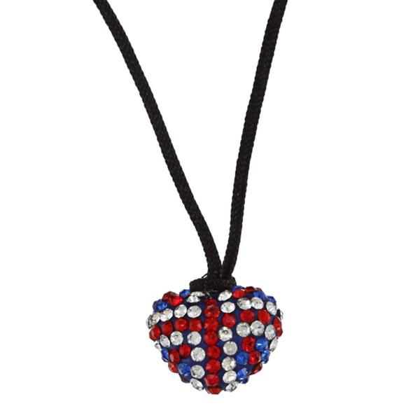 La Preciosa Sterling Silver UK Flag Crystal Heart Black Cord Necklace