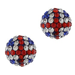 La Preciosa Sterling Silver 10-mm UK Flag Crystal Bead Stud Earrings