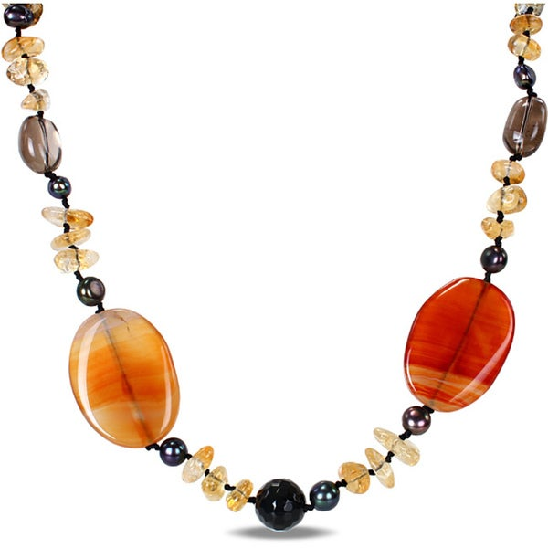 M by Miadora Red/ Black Agate, Smokey Quartz, Citrine and Pearl Necklace (5-8 mm)