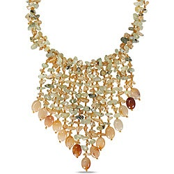 Miadora 650ct TGW Citrine and Light Green Agate 30-inch Bib Necklace