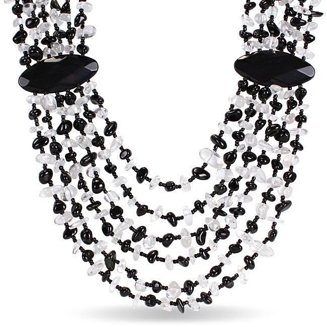 Black Agate and White Quartz Chip 6-strand 24-inch Necklace