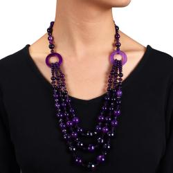 800ct TGW Purple Agate and Crystal Bead 3-strand Necklace