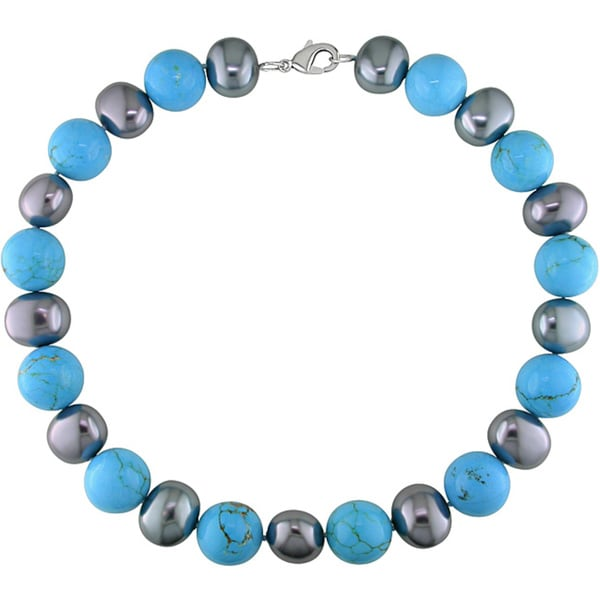 Miadora Grey Freshwater Pearl and Turquoise Bead 18-inch Necklace (18.5-19 mm)